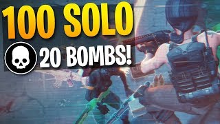 MY 100th 20 BOMB IN SOLOS! High Kill Gameplay (Fortnite Battle Royale)