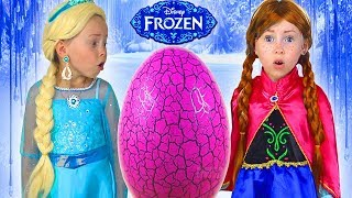 Kids Makeup Frozen Elsa And Anna Pretend Play with SUPER GIANT EGG & DRESS UP PRINCESS Dresses