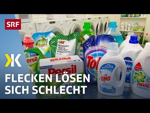 Flüssigwaschmittel: Viel zu sanft für hartnäckige Flecken | 2018 | SRF Kassensturz