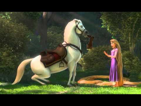 Rapunzel n Flynn meet Maximus scene from Tangled HD