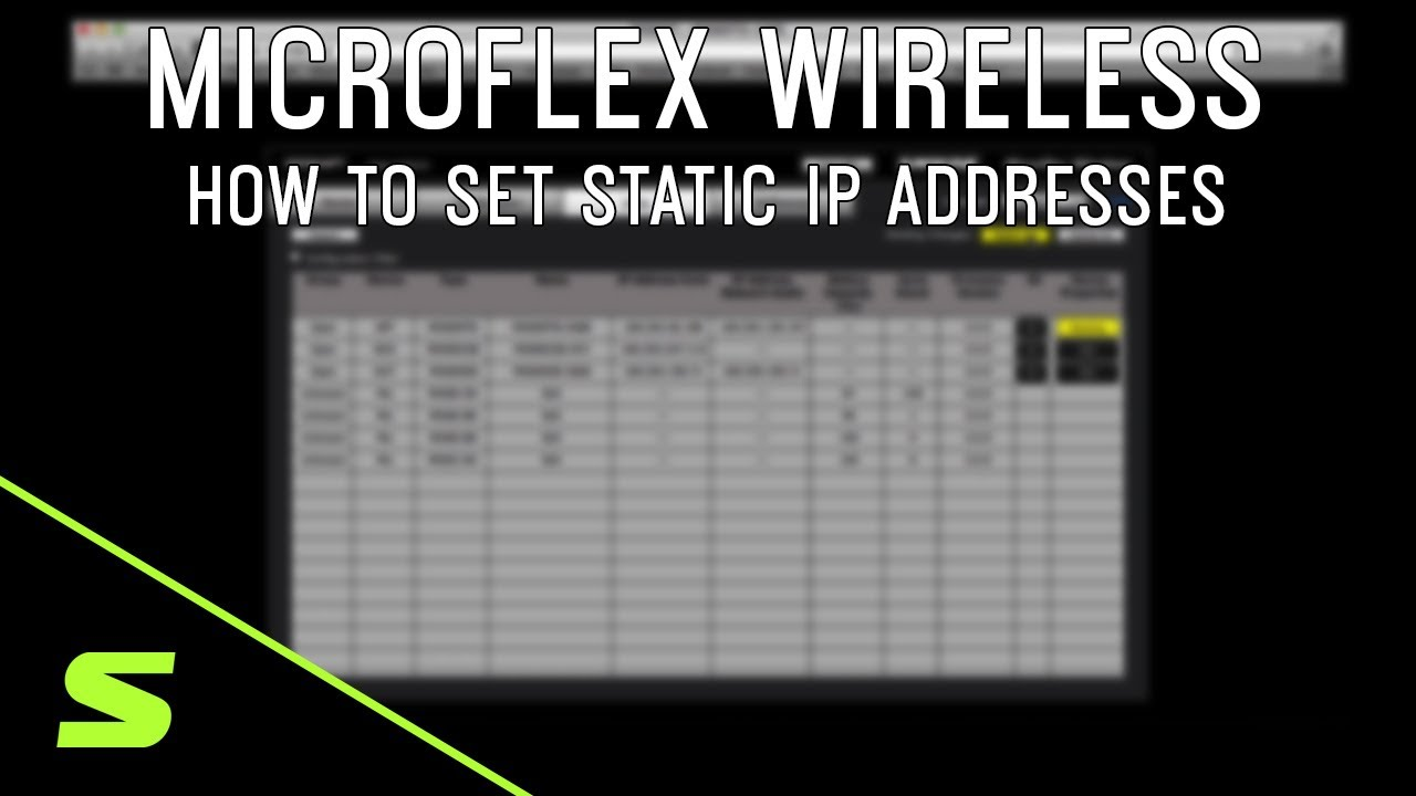 Shure Microflex Wireless: How to Set Static IP Addresses
