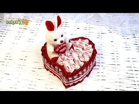"""Торт из конфет Кит-Кат """"Сердце  с  зайкой"""" своими руками. Мастер Класс для начинающих."""