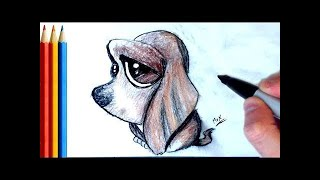 How to Draw Cute Sad Puppy (Basset Hound) - Step by Step Tutorial