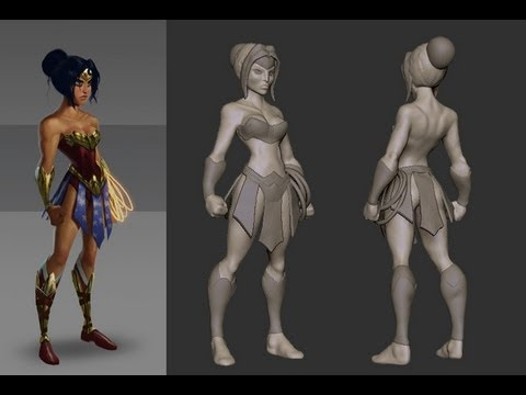 zbrush woman 3d game character sculpting by gustavo profeta