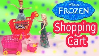 Queen Elsa Shopkins Small Mart Shopping GIANT CART Disney Frozen Fever Princess Anna Doll Play