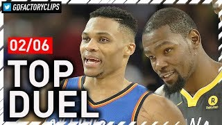 Russell Westbrook vs Kevin Durant EPIC Duel Highlights (2018.02.06) Warriors vs Thunder - MUST SEE