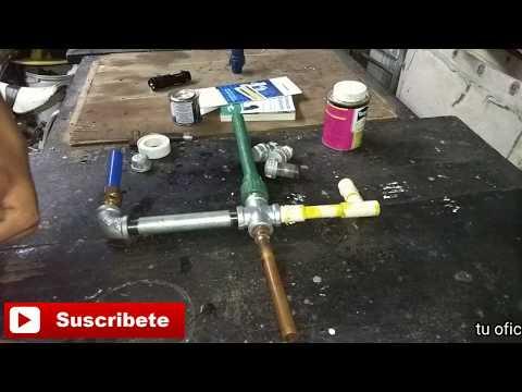 Uniendo todas las tuberías ( c-pvc, cobre, tubo plus, manguera y galvanizado)