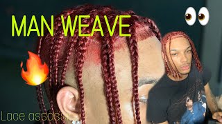 HOW TO: (EASY) MAN WEAVE On 13x6 Frontal W/ BRAIDS