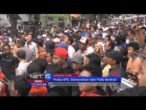 Massa Pendukung Prabowo Memaksa Bertemu Komisioner KPU Jawa Timur -NET17