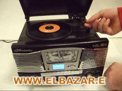 tocadiscos Nilox graba a mp3 retro cd radio usb sd/mmc ElBazar.es