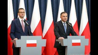 Briefing prasowy prezydenta Andrzeja Dudy i premiera Mateusza Morawieckiego
