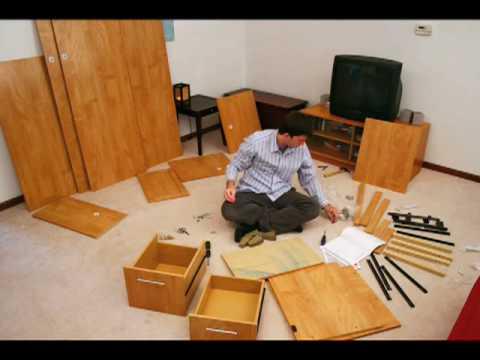 stop-motion Bush desk assembly
