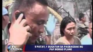 PAF plane crashes in Cotabato suburb; 9 dead