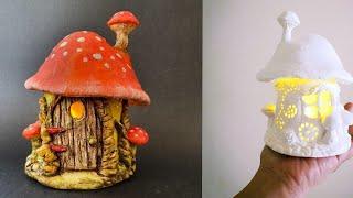 Easy Toadstool Mushroom Fairy House Jar DIY Lantern Craft Idea, Air Dry Clay Tutorial #1