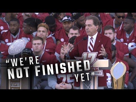 Hear what Nick Saban, senior captains had to say at Alabama's national title celebration