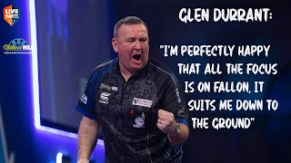 "Glen Durrant: ""I'm perfectly happy that all the focus is on Fallon, it suits me down to the ground"""