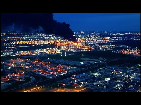 Emergency crews worked Monday to control a large fire burning at a Houston-area petrochemicals terminal that has spread to eight storage tanks. (March 18)