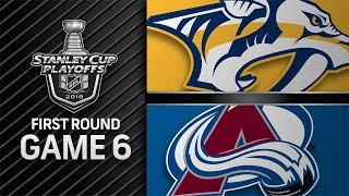 Preds shut out Avs in Game 6, advance to second round
