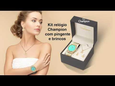 cfe990aedef Relógio Champion Dourado Cn25323y Azul Com Strass - R  209