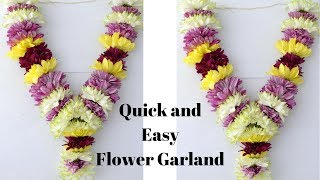 How To Make Chrysanthemum Garland? | Easy Method To Make Sevanthi Garland | Rainbow Rangoli
