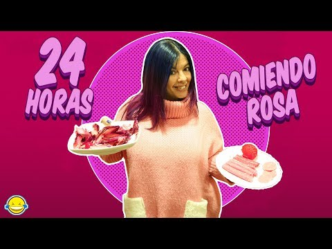 24 HORAS COMIENDO COLOR ROSA Comida por Colores All Day eating Pink food colours Momentos Divertidos
