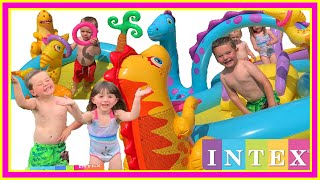 INTEX Dinoland Play Centre Review | INFLATABLE KIDS POOL WITH WATER SLIDE