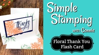 Floral Thank You Flash Card   Simple Stamping