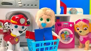 Best Learning Colors Video  - Paw Patrol & Boss Baby Laundry Washing Machine