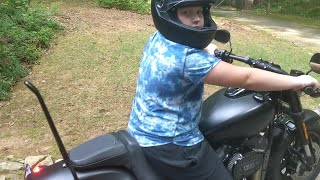 Kid Thinks He Can Ride A Harley Davidson Motorcycle Fat Bob 114 For The 4th Of July