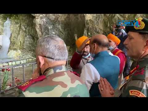 Defence minister Rajnath Singh visits Amarnath cave shrine in Kashmir Himalayas