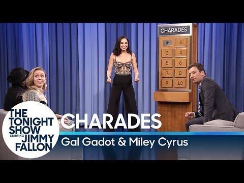 Watch Gal Gadot And Miley Cyrus Battle It Out In Charades On The Tonight Show