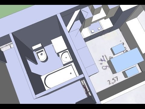 Ремонт ванной комнаты, туалета и кухни в брежневке.  Вариант перепланировки