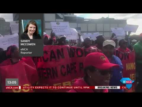 Samwu workers marching in Nelson Mandela Bay