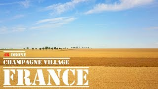 France Champagne Reims - [4K drone video] -agricultural landscape of a charming village