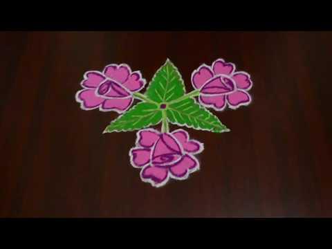 Rose Flower Rangoli Design   Flower Muggulu   Daily Kolam Easy