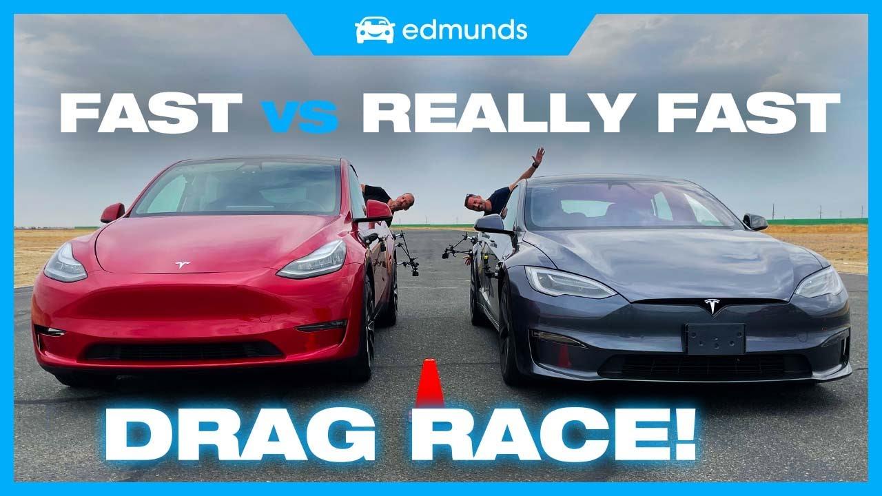 qYOs9pcHqF4 - Drag Race! Tesla Model Y Performance vs. Model S Plaid | Battle of the Fastest Teslas