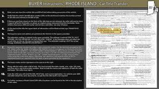 Rhode Island BUYER Title Transfer Instructions