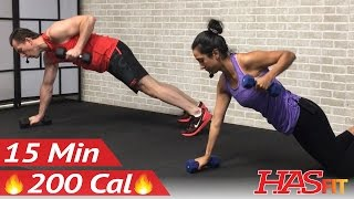 15 Min Full Body Dumbbell Workout at Home for Women & Men - Weight Training Workouts for Strength by HASfit