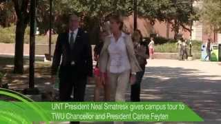 UNT and TWU presidents tour the UNT campus (2014)