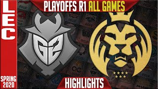 G2 vs MAD Highlights ALL GAMES | LEC Spring 2020 Playoffs Round 1 | G2 Esports vs MAD Lions