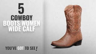 Top 5 Cowboy Boots Women Wide Calf [2018]: SheSole Womens Western Cowgirl Cowboy Boots Tan Size 9
