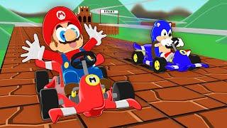 MARIO vs SONIC in a Kart racing