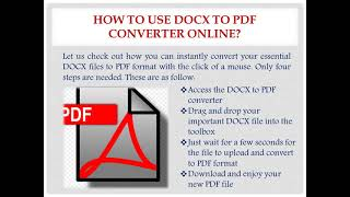 Use and Features of DOCX to PDF Converter Online