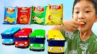 나무에 감자칩 과자가? 예준이의 타요 버스 동요 색깔 마법놀이 핑거송 영어 동요 바나나 핑거 패밀리 Learn Color Finger Family Tayo  Bus Song