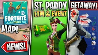 Custom Map, New Gun & Trap, St Patricks LTM + Skins, Getaway LTM Event, Map Changes! (Fortnite News)