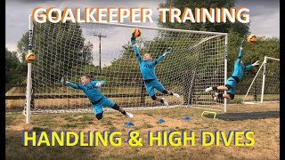 9 Year Old Goalkeeper Handling & Diving Training | Young U10 Football Goalie Training