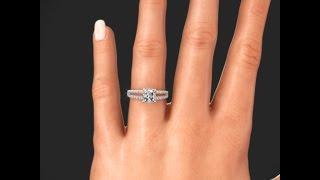 Ritani 1PCZ2488 French Set Diamond Engagement Ring for Princess on Hand