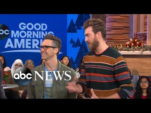 YouTube Stars Rhett and Link taste test unique gingerbread avocado toast, scrambled eggnog