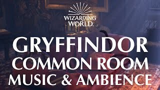 Harry Potter Music & Ambience | Gryffindor Common Room – Peaceful Fireside Relaxation & Rain Storms