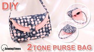 DIY 2TONE PURSE BAG   How To Make Casual Handbag   Sewing Pattern & Tutorial [sewingtimes]